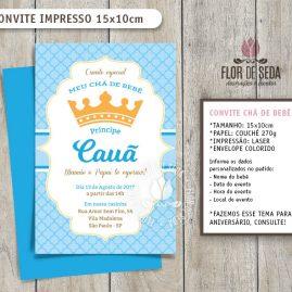 Convite Chá de Bebê Coroa Principe com envelope - (tamanho 10x14,5cm)