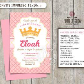 Convite Chá de Bebê Coroa Princesa com envelope - (tamanho 10x14,5cm)