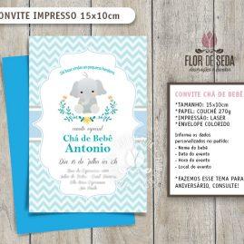 Convite Chá de Bebê Elefante com envelope - (tamanho 10x14,5cm)