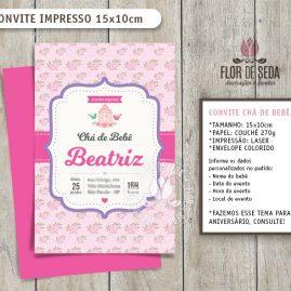 Convite Chá de Bebê Jardim com envelope - (tamanho 10x14,5cm)