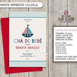 Convite Chá de Bebê Náutico com envelope - (tamanho 10x14,5cm)