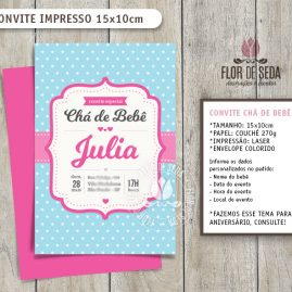 Convite Chá de Bebê Poá com envelope - (tamanho 10x14,5cm)