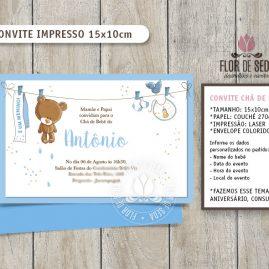Convite Chá de Bebê Ursinho com envelope - (tamanho 10x14,5cm)