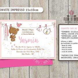 Convite Chá de Bebê Ursinha com envelope - (tamanho 10x14,5cm)