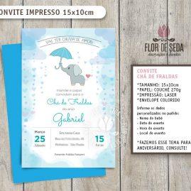Convite Chá de Fraldas Elefante com envelope - (tamanho 10x14,5cm)