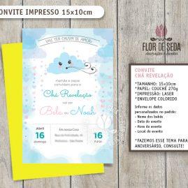 Convite Chá Revelação Chuva de Amor com envelope - (tamanho 10x14,5cm)