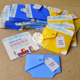 Convite Chá de bebê - Tema transportes/carros com envelope fralda