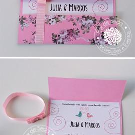 Convite de noivado floral com fita de gorgurão