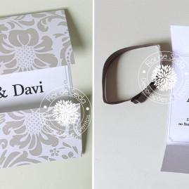 Convite de noivado prata com fita de cetim
