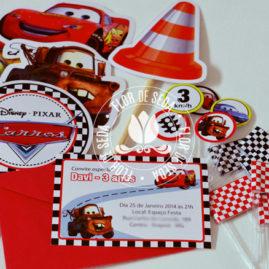 Kit festa infantil Carros - Toppers decorativos e mini toppers para docinhos