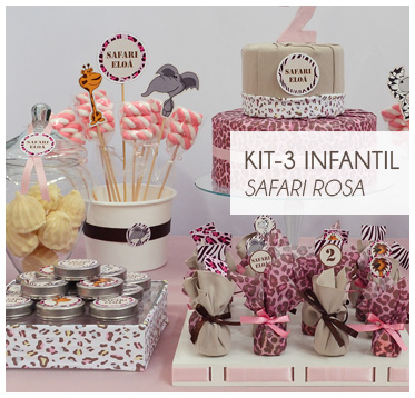 KIT FESTA INFANTIL SAFARI ROSA KIT3