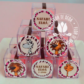 Kit festa infantil Safari Rosa - Caixinhas acrílicas