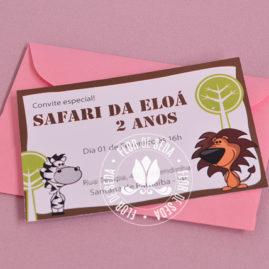 Kit festa infantil Safari Rosa - convite cartão de visita