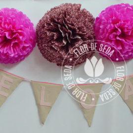 Kit festa infantil Safari Rosa - pompons de seda