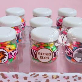 Kit festa infantil Safari Rosa - mini vidro