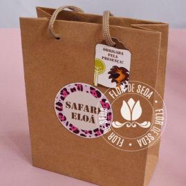 Kit festa infantil Safari Rosa - Sacola personalizada
