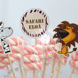 Kit festa infantil Safari Rosa - Toppers decorativos