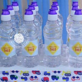 Chá de Bebê Menino - Carros e Transportes - Água Personalizada