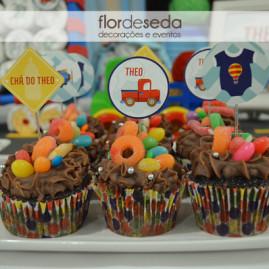 Chá de Bebê Menino - Carros e Transportes - Toppers para Cupcakes
