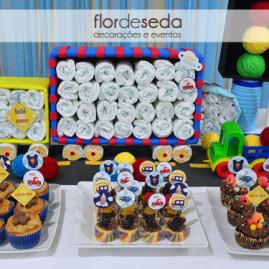 Chá de Bebê Menino - Carros e Transportes - Toppers para Cupcakes e Mini Cupcakes