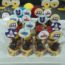 Toppers para cha de bebe menino - Tema Carros e Transportes - Toppers para Cupcakes, mini cupcakes e doces