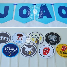 Kit Festa Infantil Rock and Roll-Varal de bandeiras de papel e mini toppers para doces