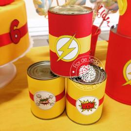 Kit Festa Infantil Flash - Rótulo para latas decorativas