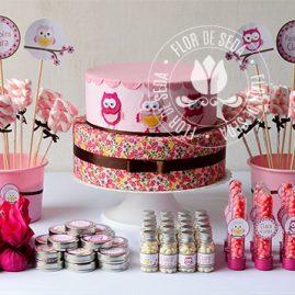 Kit festa infantil Coruja marrom e rosa
