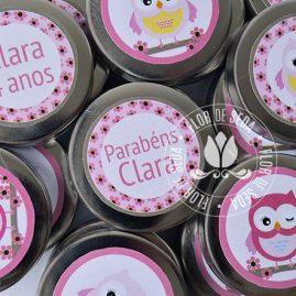 Kit festa infantil Coruja marrom e rosa-Latinhas