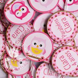 Kit festa infantil Coruja marrom e rosa-Mini toppers para doces