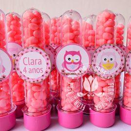 Kit festa infantil Coruja marrom e rosa-tubetes