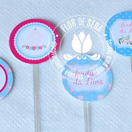Kit festa infantil Jardim - mini toppers para doces