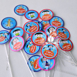 Kit festa infantil Show da Luna -Mini toppers para doces