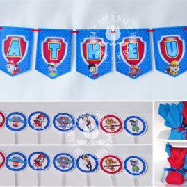 Kit festa infantil Patrulha Canina - Varal de bandeirolas impressas com o nome do aniversariante, mini toppers para docinhos e trouxinhas de bombom Sonho de Valsa