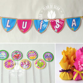 Kit festa infantil ShopKins- Varal de bandeirolas, mini toppers para doces e trouxinhas de bombom