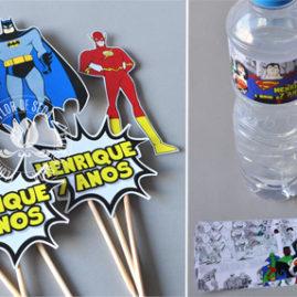 Kit festa infantil Liga da Justiça  - Toppers decorativos e rótulo para água ou suco