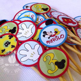 Kit Festa Infantil Mickey Mouse - Azul - Mini Toppers para doces