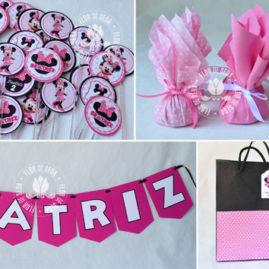 Kit festa infantil Minnie Rosa - Mini toppers para doces e varal de bandeirolas