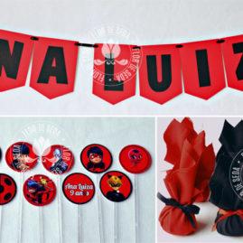 Kit festa infantil Miraculous Ladybug - Varal de bandeirolas de papel, mini toppers para docinhos e trouxinhas de bombom Sonho de Valsa