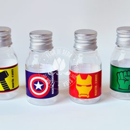 Kit festa infantil Vingadores-Frasco plástico