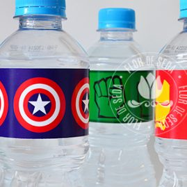 Kit festa infantil Vingadores-Rótulos para água