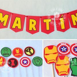 Kit festa infantil Os Vingadores (The Avengers)-Varal de bandeirolas de papel, mini toppers para docinhos e toppers decorativos