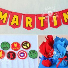 Kit festa infantil Os Vingadores (The Avengers) - Varal de bandeirolas de papel, mini toppers para docinhos e trouxinhas de bombom