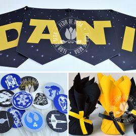 Kit festa Star Wars-Varal de bandeiras impressos, mini toppers para doces e trouxinhas de bombons