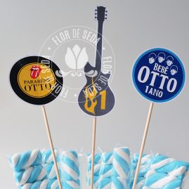 Kit festa infantil Rock and Roll-Toppers decorativos
