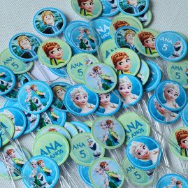 Kit festa infantil Frozen Fever-Mini toppers para doces