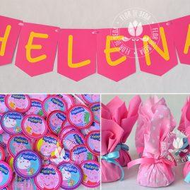 Kit festa infantil Peppa Pig-Varal de Bandeirolas, mini toppers para docinhos e trouxinhas de bombom