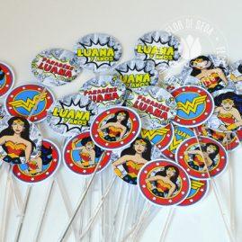 Kit festa infantil Mulher Maravilha-mini toppers