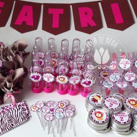 Kit festa infantil Safari Rosa e Marrom