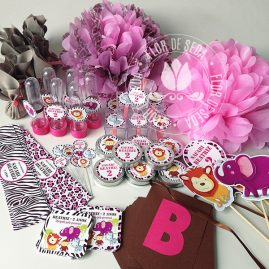 Kit festa infantil Safari Rosa e Marrom